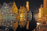 Bruges Downtown Canal At Night